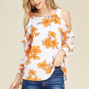 NWT STACCATO RUFFLED COLD SHOULDER BLOUSE TOP